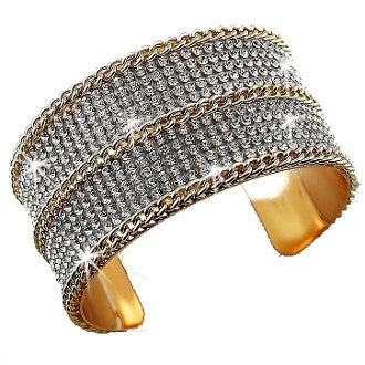10 Line Crystal w/ gold diamond cut Link Chain Cuff