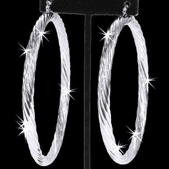 """4"""" Twisted Ribbed Shiny Silver Hoop Earring"""