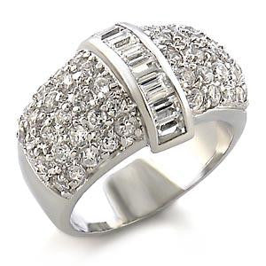 Micro Pave Baguette Cz Diamond Cocktail Wedding Dome Ring Band