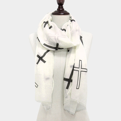 Black Cross White Scarf