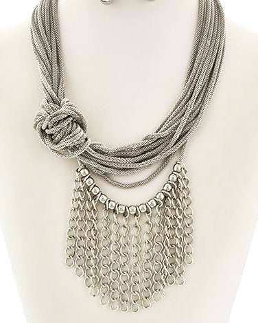 Side Knot Baby-Balls & Chains Necklace