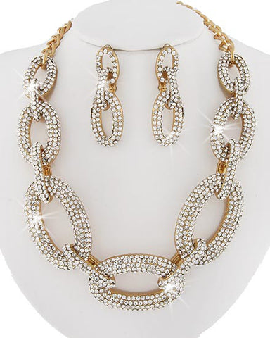 Royal Flush Large Pave Link Necklace