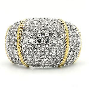 10Row Micro Pave Cz Diamond w/ Gold braid accent Cocktail  Dome Ring