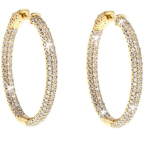 Pave Signity CZ Hoop Earrings 1.4""
