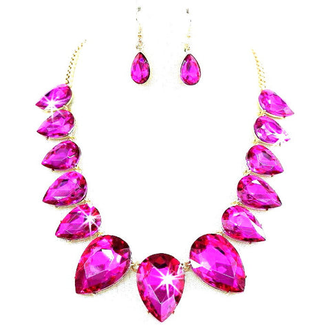 Big & Bold Pear Crystal Necklace