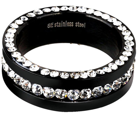 Black White Pave Swarovski Crystal Eternity Ring