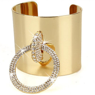 Crystal Circle on A Cuff Gold Bracelet