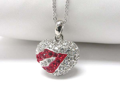 Mini Ruby Red Lip Crysatl Heart Pentdant