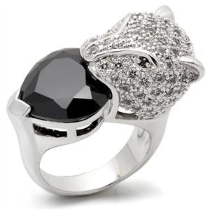 Black Heart Panther Cz Ring