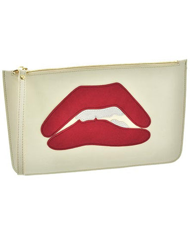 Red Lips Ivory Leather Clutch