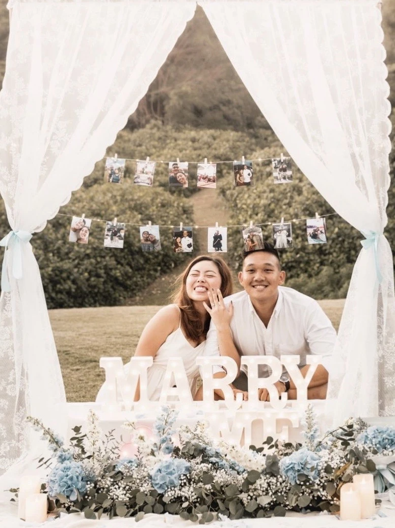 Romantic Outdoor Proposal in Singapore with Blue Hydrangea and Delphinium at Canterbury Road by Style It Simply