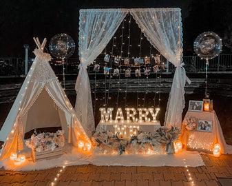 Romantic Nighttime Proposal in Singapore with Fairy-lights at Mount Faber Park by Style It Simply