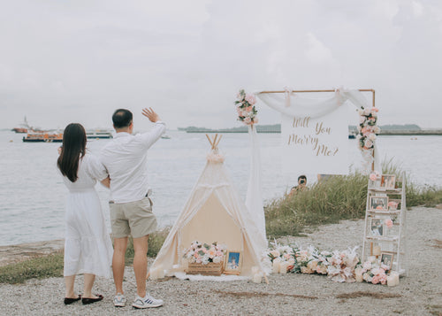 Romantic Outdoor Proposal Decor in Singapore at Marina South Promenade by Style It Simply