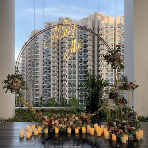 Romantic Rooftop Proposal Decor in Singapore with Fresh Flowers by Style It Simply
