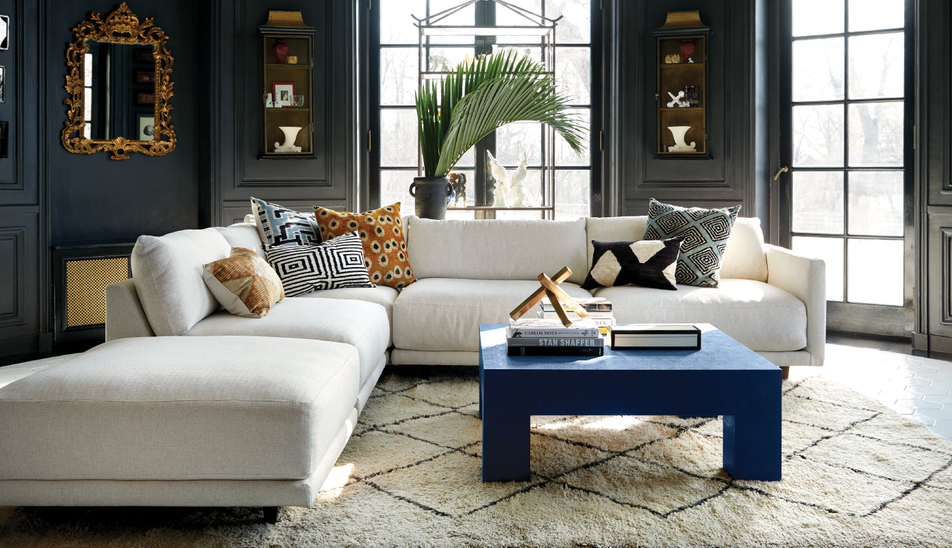 image of luca modular sectional, emory coffee table, and other home accessories
