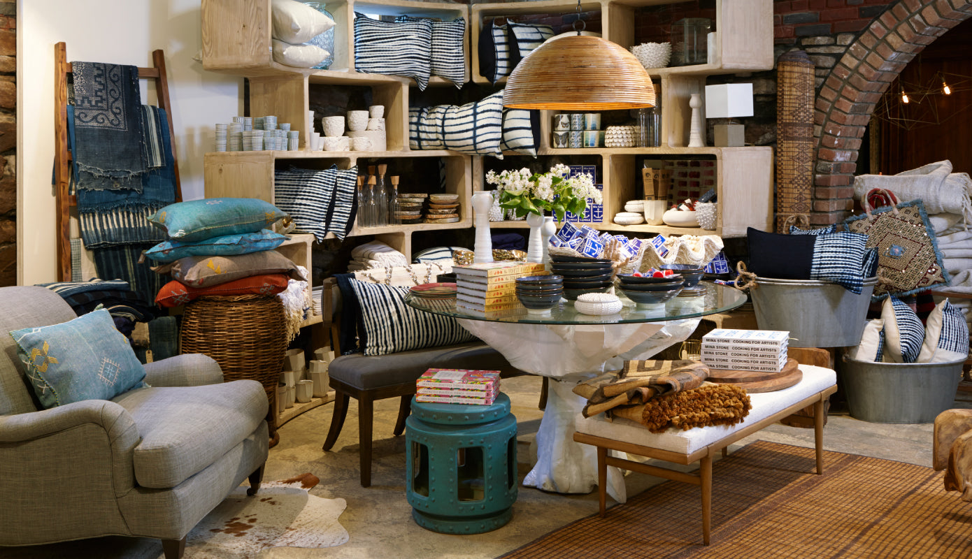 Various Jayson Home Merchandise - Tables, Benches, Tableware, and Pillows