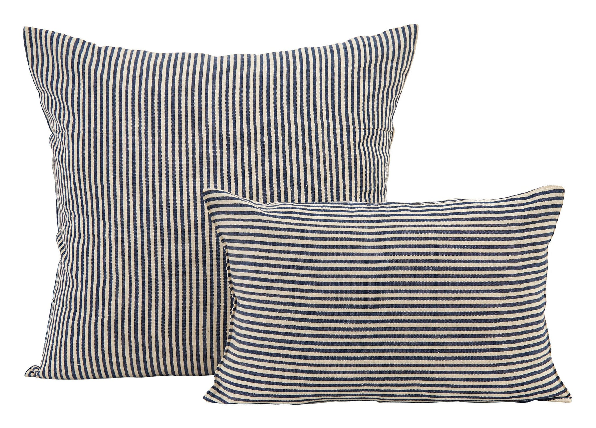 Navy and Cream Stripe Pillows