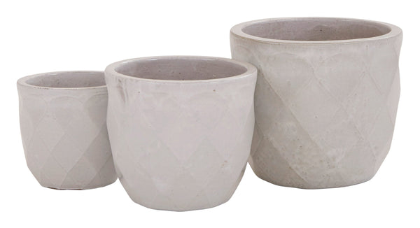 Faceted White Pots