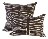 Zebra Linen Pillows - Chocolate
