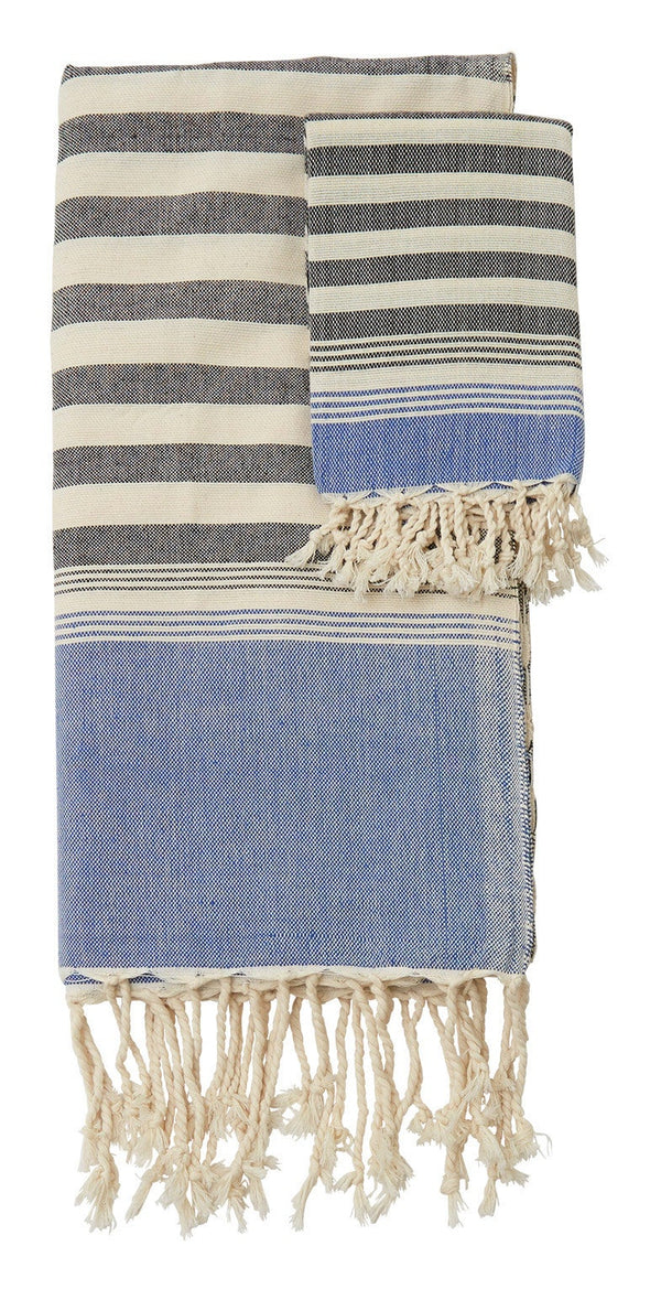 Hammam Black and Blue Stripe Towels