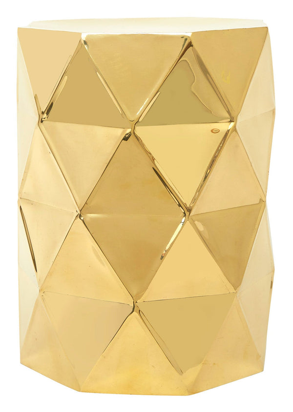 Faceted Brass Side Table