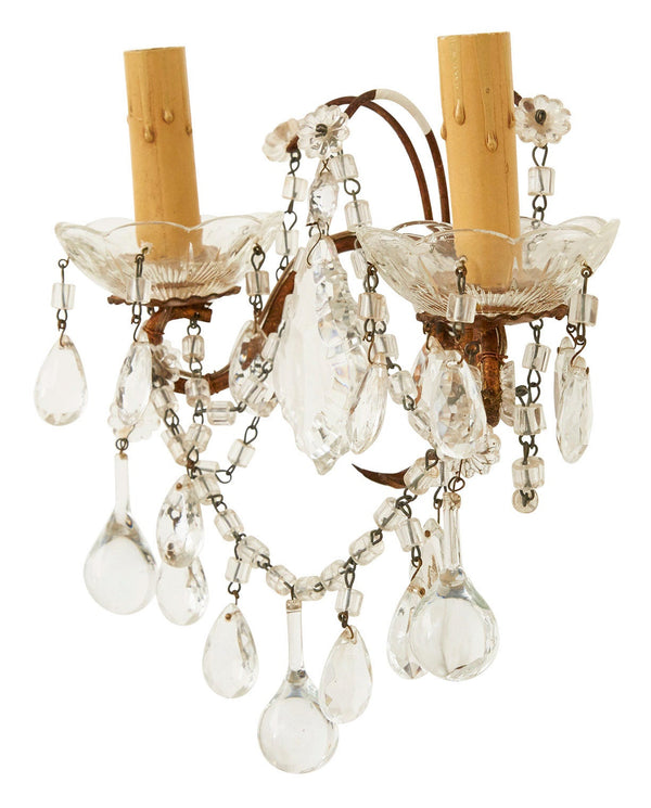 Antique French Crystal Sconce