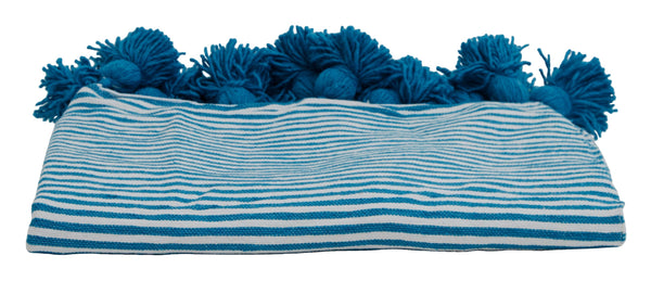Turquoise Pom Cotton Stripe Blanket