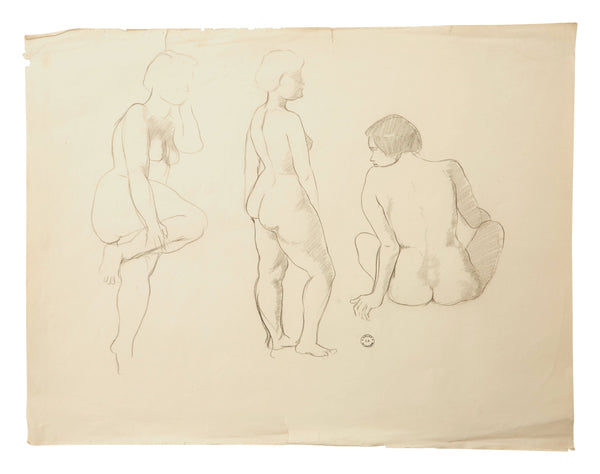 Vintage French Figure Study - Unframed