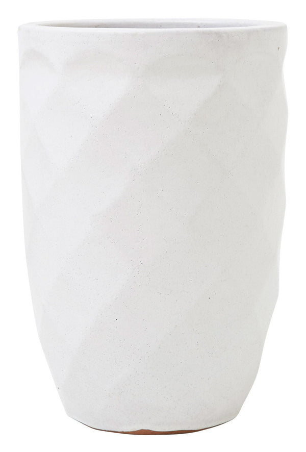 White Faceted Tall Planter