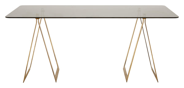 Vintage Brass Trestle Table