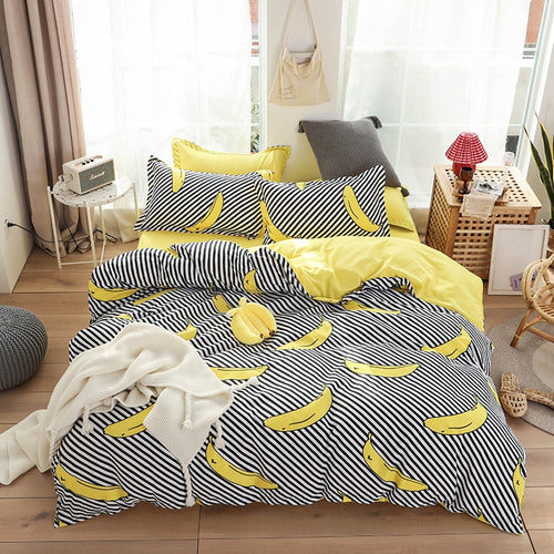 HOT sale Bedding Sets Duvet Cover3/4pcs Cartoon new fashion Bed sheets Single Twin Full Queen Sizes Fruit Banana  Men Women