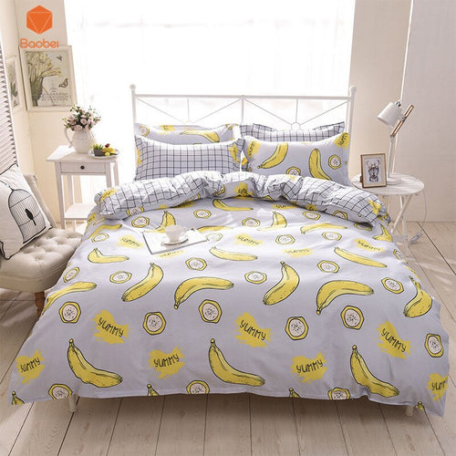 3/4Pcs Banana Polyester bedding sets Duvetcover Setwinter Flat bedsheet Pillowcase Queen king Bedlinen Bedclothes sj115
