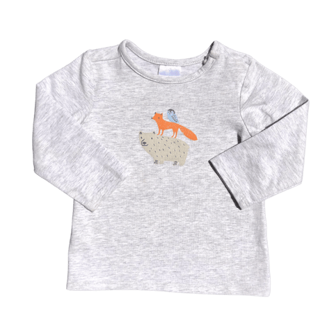 Toddles Sustainable Second Hand Baby Clothes Unisex long sleeve top with fox & bear pattern