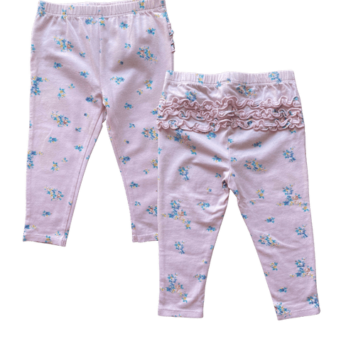 Pink Floral Frill Leggings