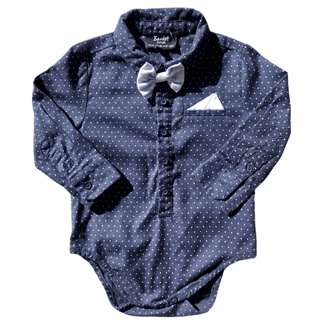 Toddles Sustainable Second Hand Baby Clothes Baby boys Bardot bowtie romper