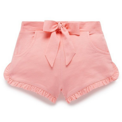 Toddles Sustainable Second Hand Baby Clothes Baby girls peach shorts with brand Purebaby