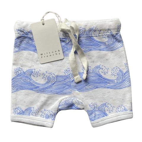 Toddles Sustainable Second Hand Baby Clothes Unisex waves shorts with brand Wilson & Frenchy