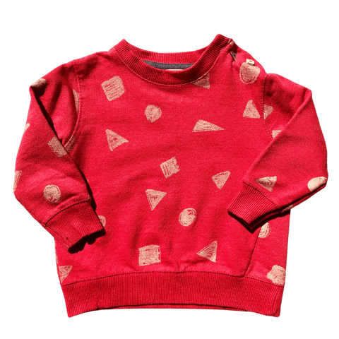 Toddles Sustainable Second Hand Baby Clothes Baby boys red shape sweater with brand Zara