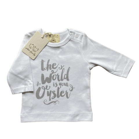 Toddles Sustainable Second Hand Baby Clothes Unisex Oyster Top with brand Wilson & Frenchy