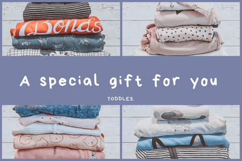 Toddles Gift Card reading A Special Gift For You sustainable baby clothes second hand baby clothes