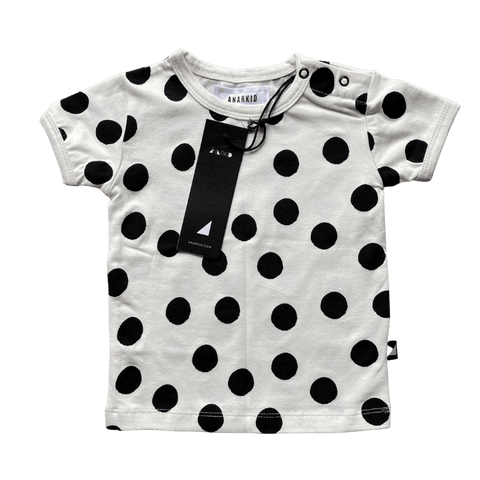 Toddles Sustainable Second Hand Baby Clothes Unisex dotty print tee with brand Anarkid