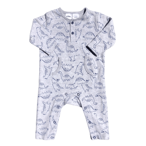 Toddles Sustainable Second Hand Baby Clothes Baby boys Dino bodysuit with brand Anko