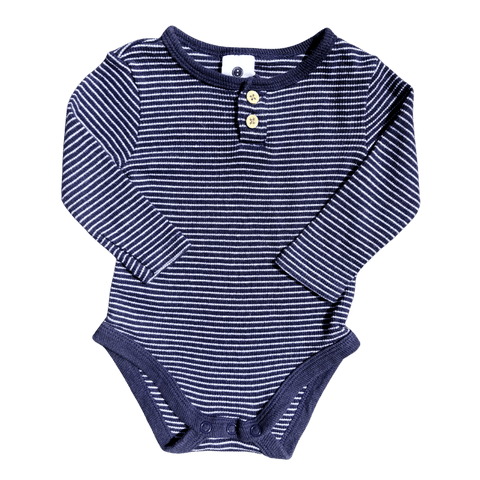 Toddles Sustainable Second Hand Baby Clothes Unisex navy stripe romper with brand Dymples