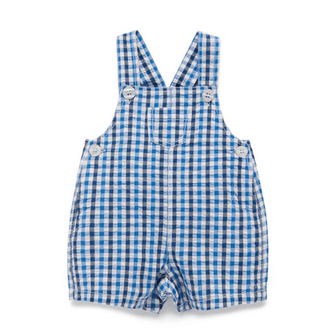 Toddles Sustainable Second Hand Baby Clothes Baby boys gingham overalls with brand Purebaby