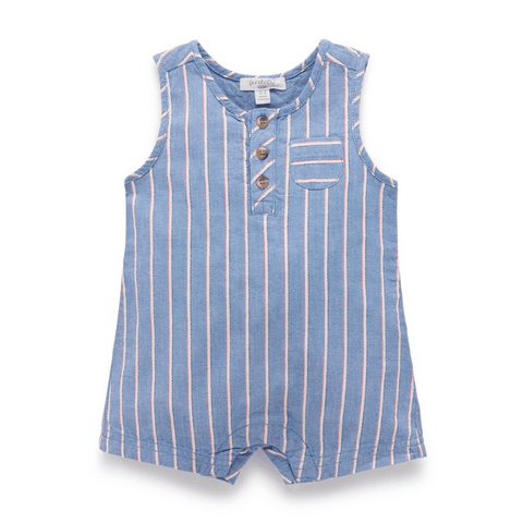 Toddles Sustainable Second Hand Baby Clothes Baby boys stripe romper with brand Purebaby