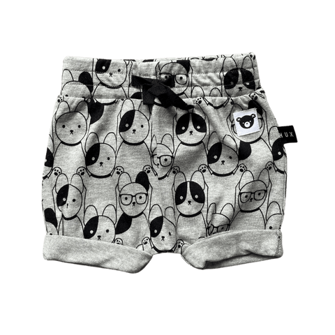 Toddles Sustainable Second Hand Baby Clothes Unisex grey shorts with brand Huxbaby