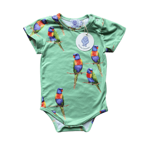 Toddles Sustainable Second Hand Baby Clothes Unisex green bodysuit with brand Cheeky Chickadee