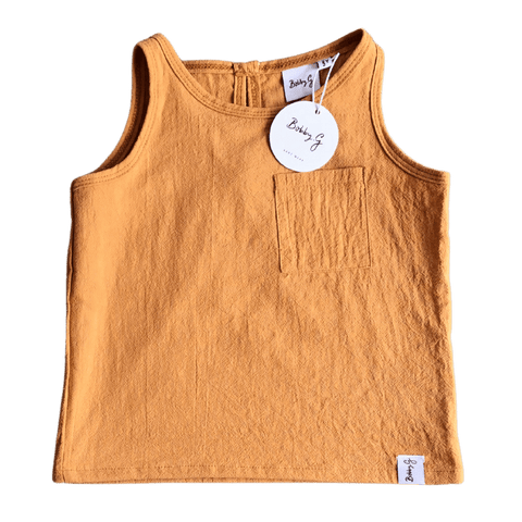 Toddles Sustainable Second Hand Baby Clothes Unisex linen singlet with brand Bobby G