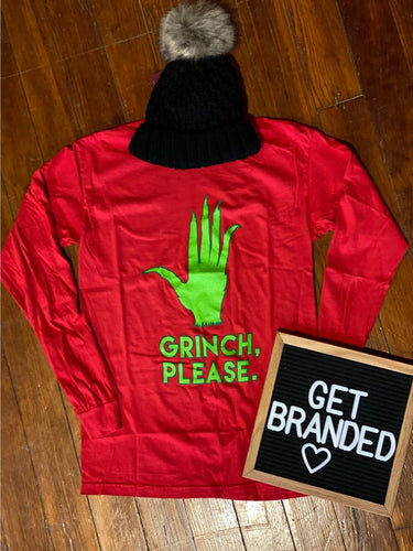 Grinch Please CC Long Sleeved Tee