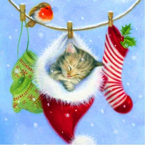 Christmas Cat In Socks Diamond Painting Kit - DIY